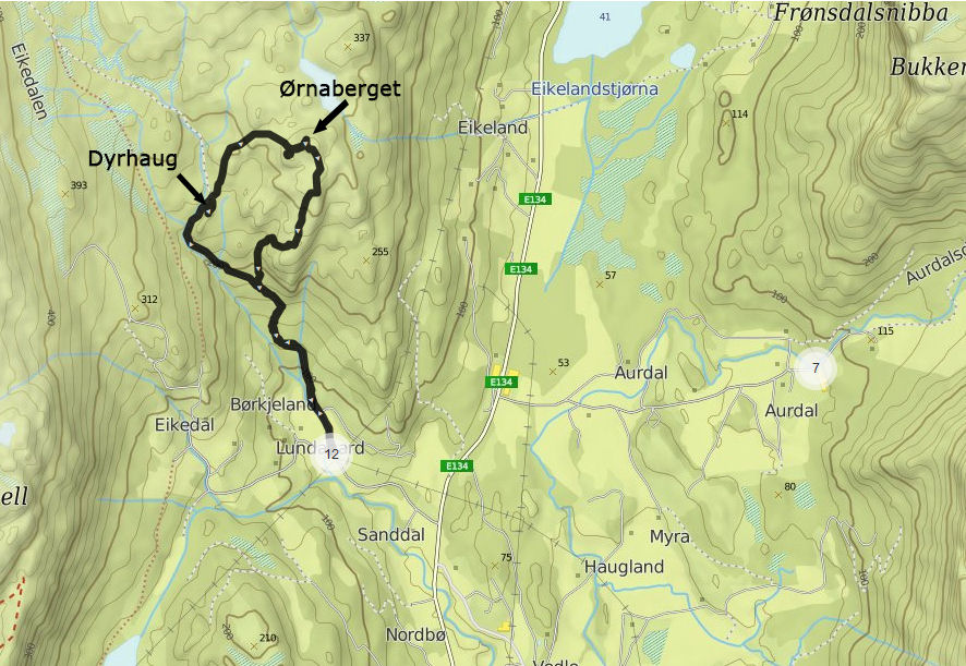 Ornaberget - mapa